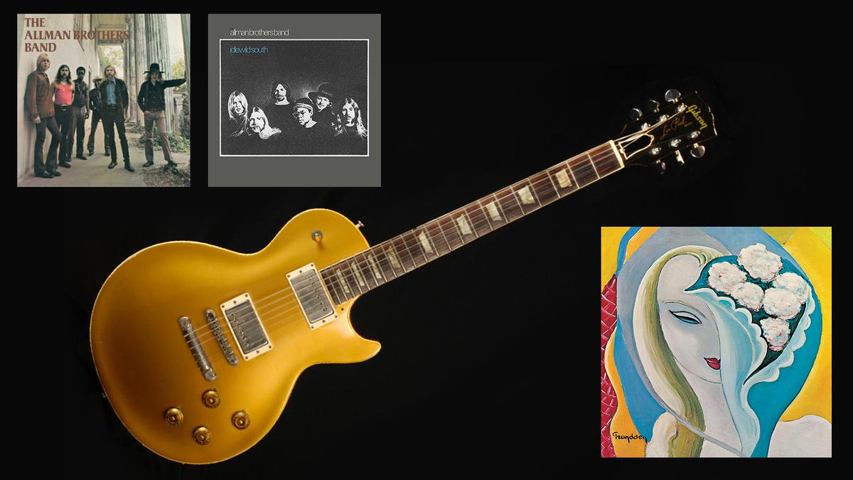 """The Goldtop 1957 Gibson Les Paul guitar which Duane Allman used to record """"Layla"""" alongside Eric Clapton"""