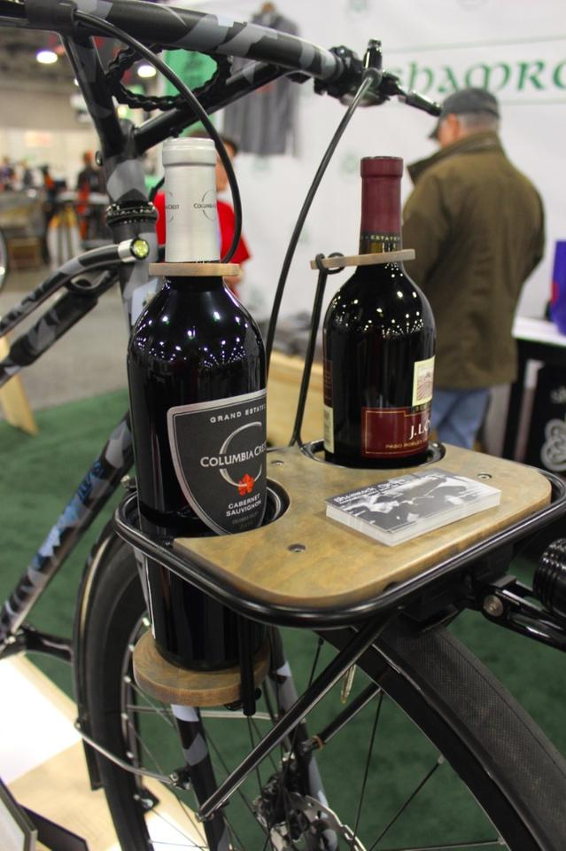 The front rack can carry two bottles of wine