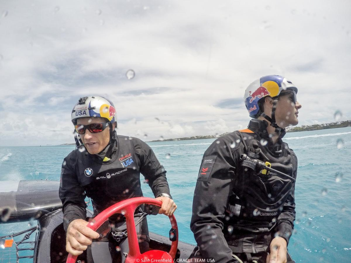 Oracle Team USAskipper Jimmy Spithill at the helm of the practice yacht which, at 45-feet long, measures five feet shorter than the actual competition boat that was recently revealed.