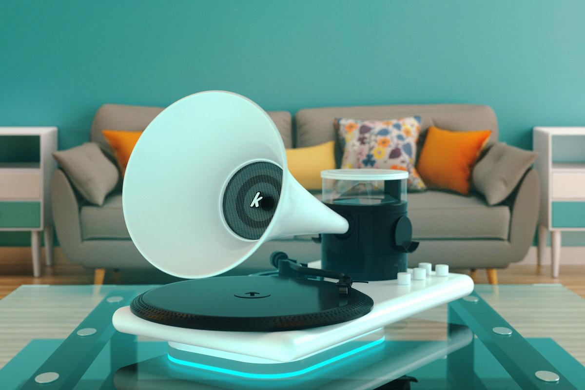 The retro-cool Kozmophone packs in lots of modern tech, including wireless phone charging, a detachable Bluetooth speaker and holographic animations