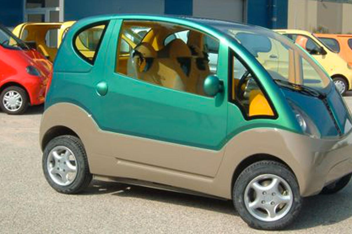 MDI compressed-air technology is being developed in India by Tata Motors (pictured is MDI's MiniFlowAIR urban 3-seater)