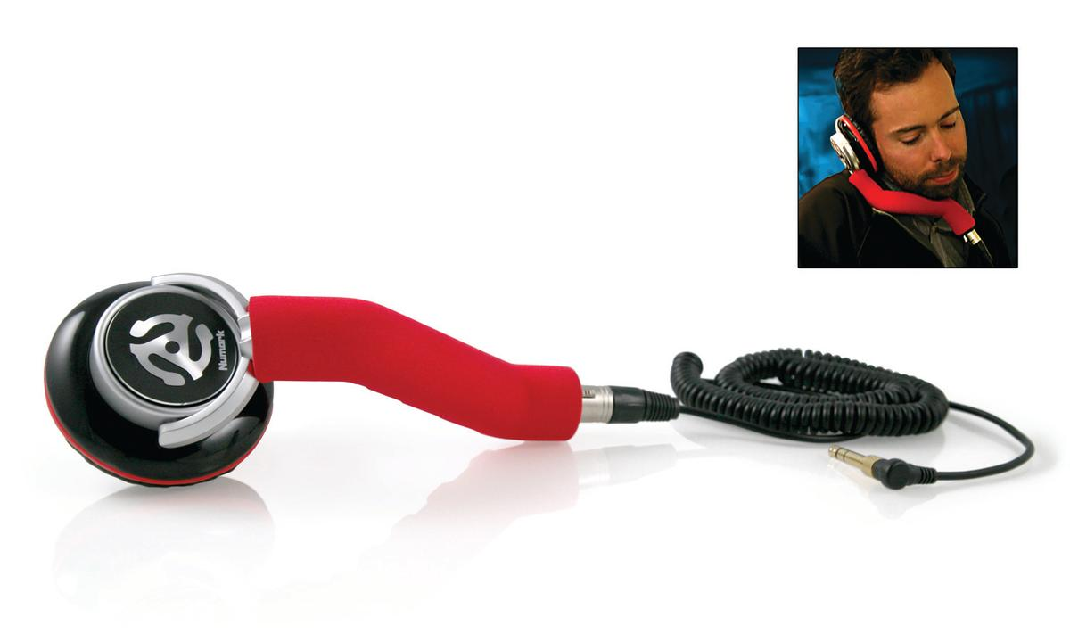 Numark's Redphone is a professional DJ stick that has one headphone with a 50mm driver mounted on a cushioned, ergonomic handle