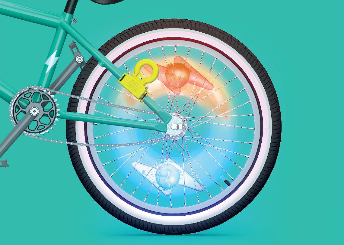 As the lightning bolt-shaped bike lights pass the wireless power emitter of theLight Racer kit , they illuminate