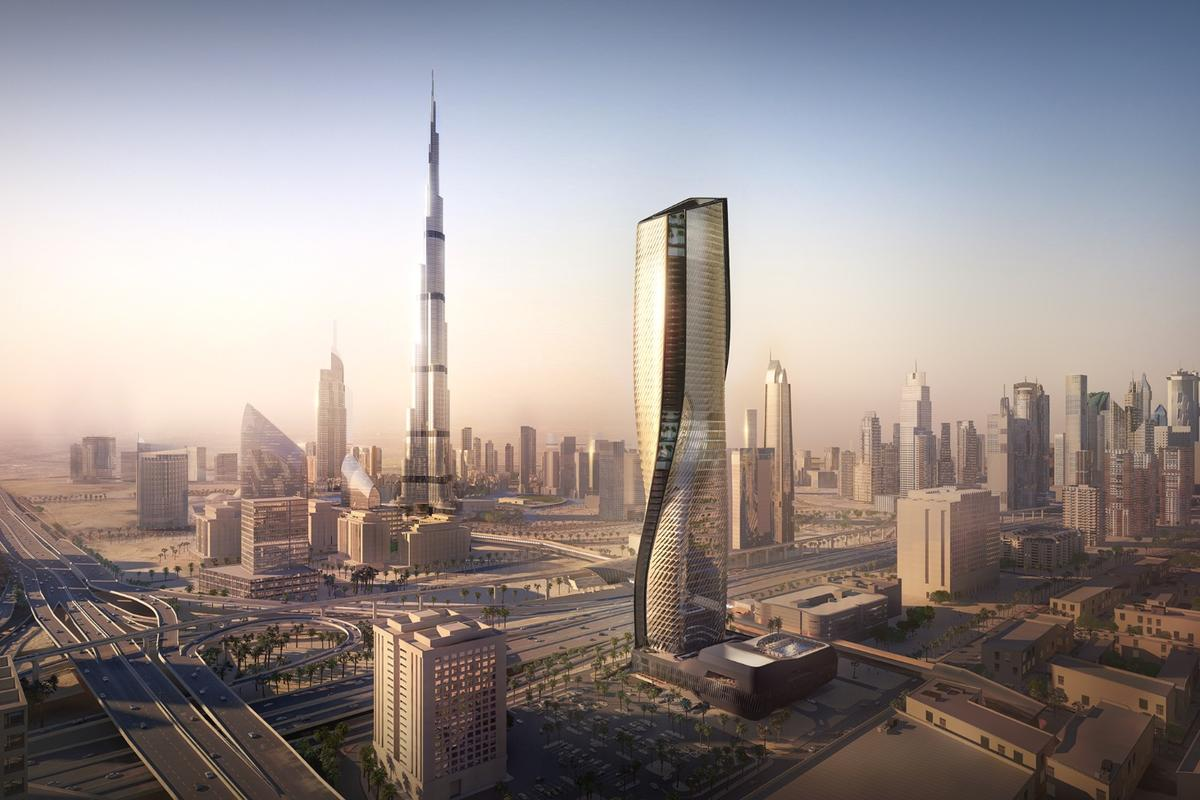 The Wasl Tower is located on a prominent site near the Burj Khalifa and will rise to a total height of 302 m (990 ft)