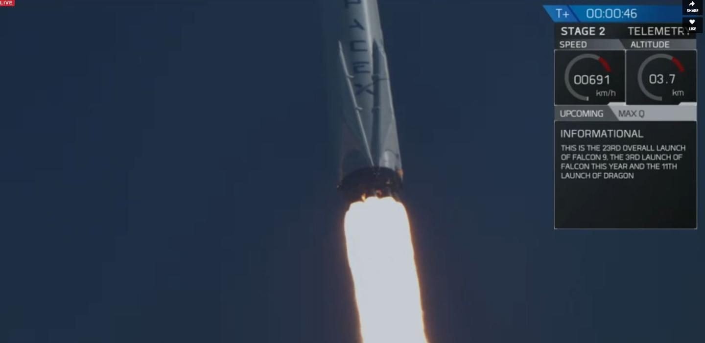 CRS-8 lifting off
