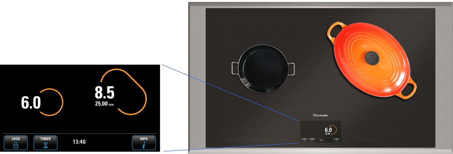 The Freedom Induction Cooktop is controlled via a 6.5-inch touchscreen panel