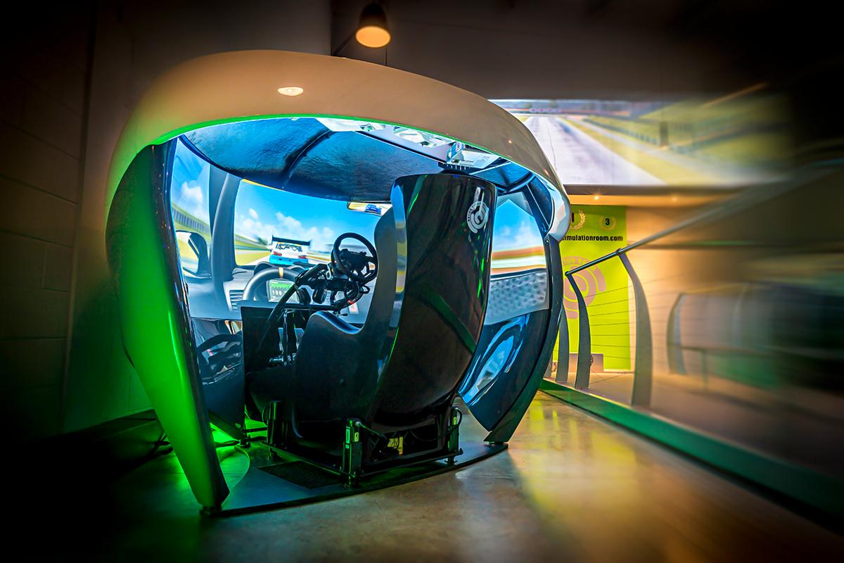 Inside one of six pods at the Motion Simulation Room