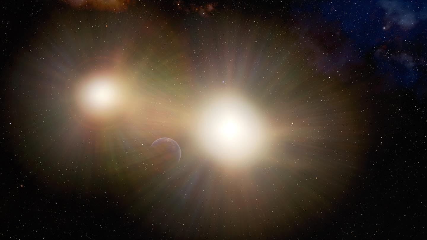 An illustration showing how the glare of a binary star system could hide an Earth-sized planet
