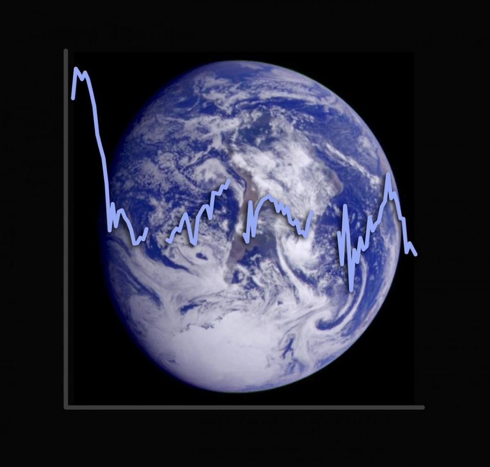 image of Earth with the planet's albedo signature plotted against it