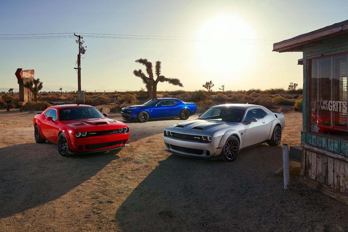 The high performance Dodge Hellcat lineup, featuring (L to R) then R/T Scat Pack Widebody, SRT Hellcat Widebody and SRT Hellcat Redeye