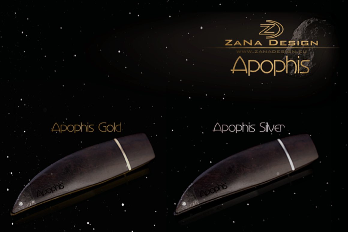 The Apophis USB drive is made with 18-carat gold or 925 silver ... and real meteorite