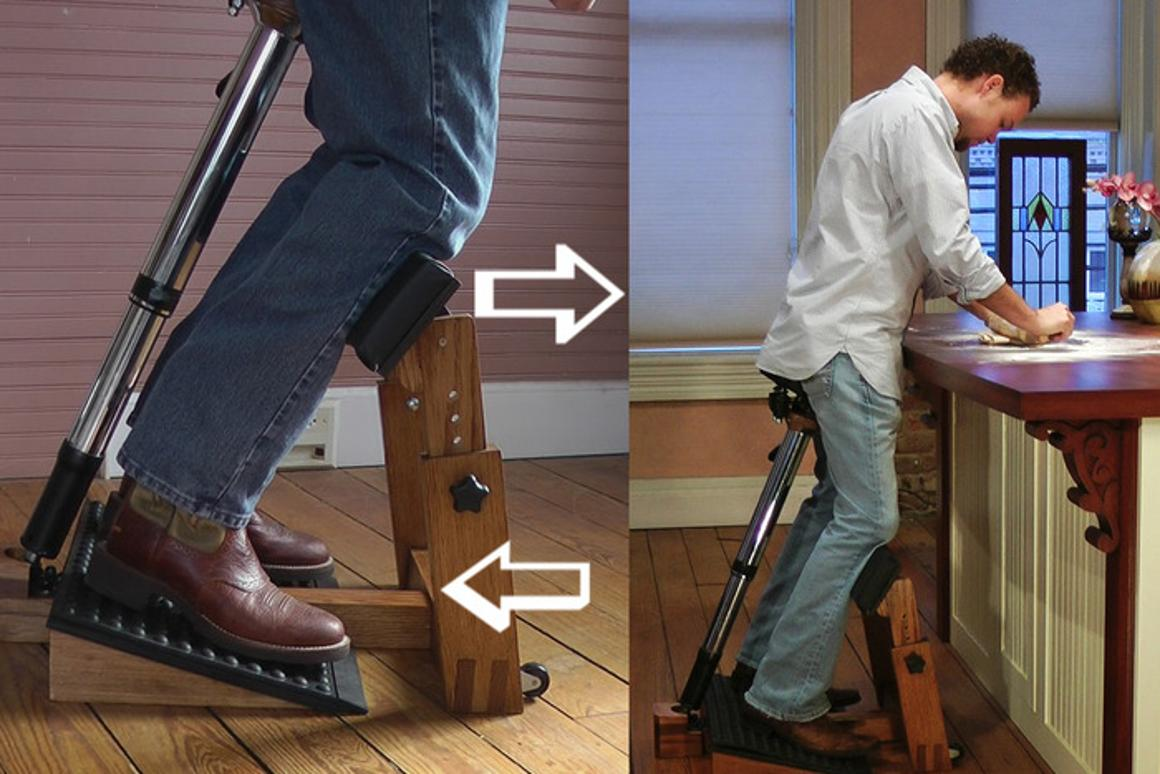 Standing Task Chair helps you sit and stand at the same time