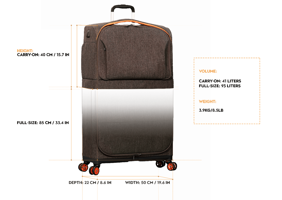 Dimensions of the Rollux luggage