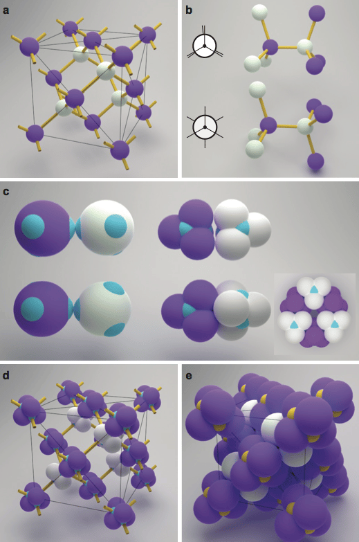 3D models of colloids linking together in different shapes