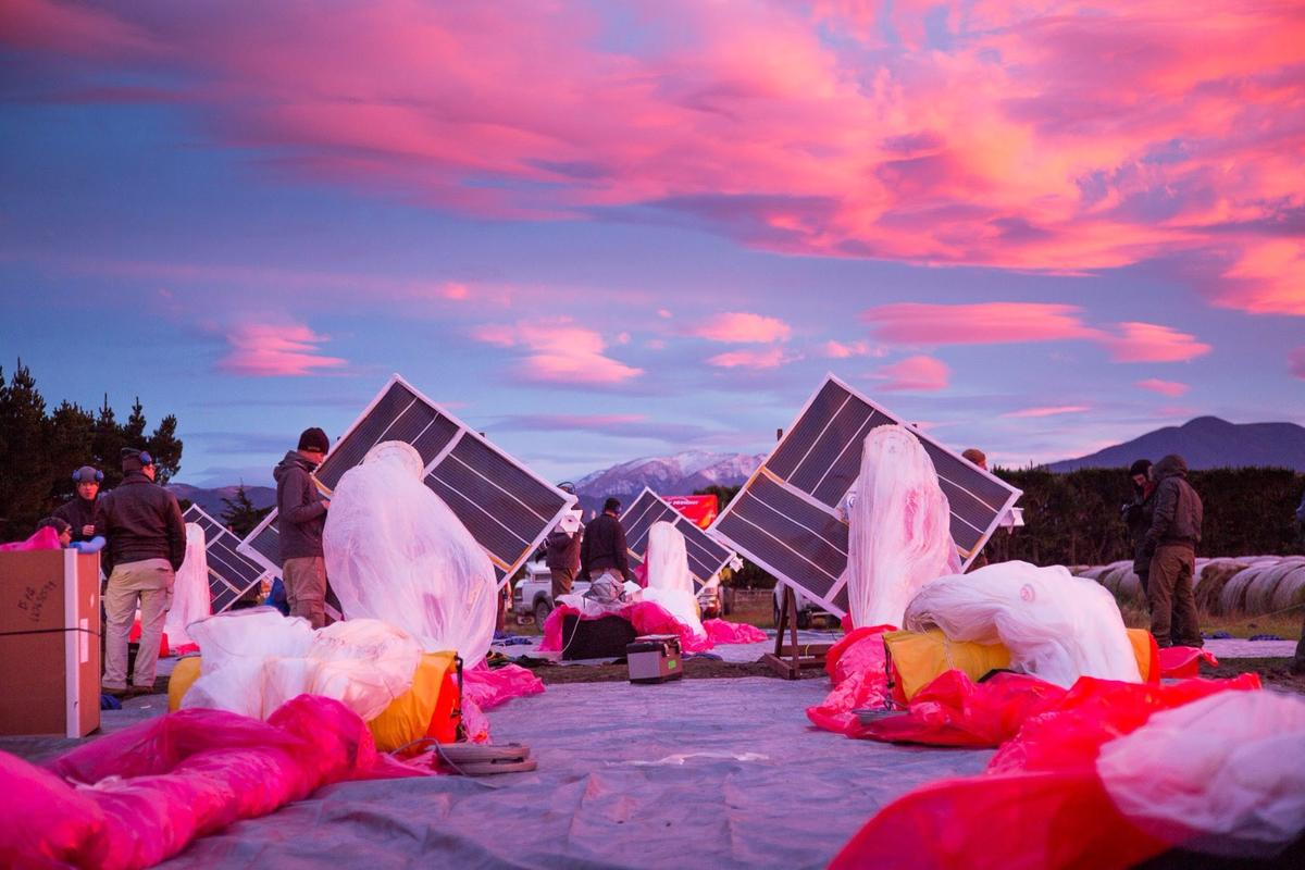 Project Loon's balloons at a test site in New Zealand in 2013