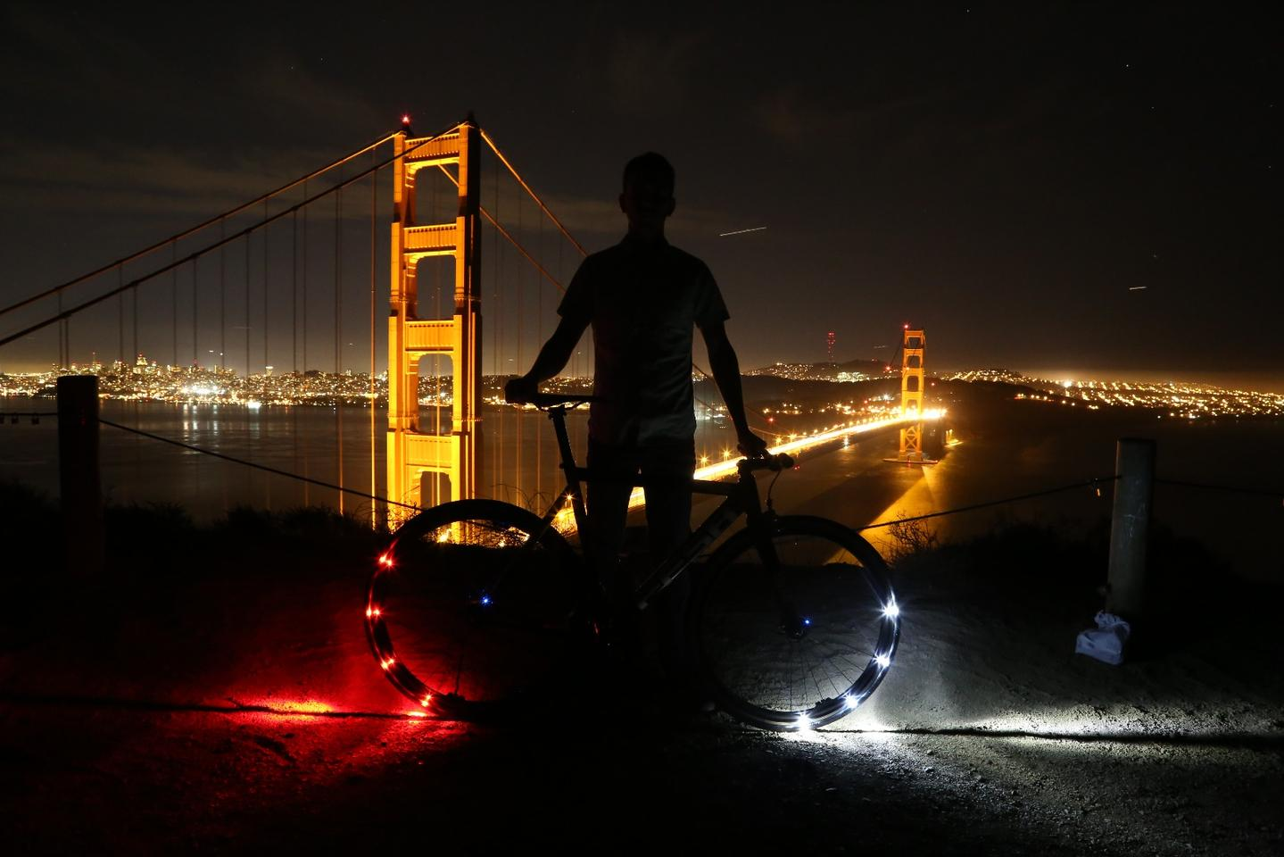"The Revolights system consists of four ""rings,"" each one of which contains 12 equally-spaced LEDs along with a battery and electronics module"