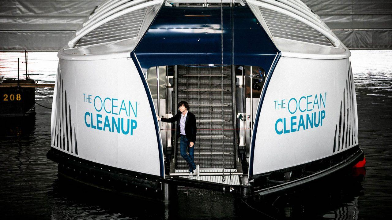 The Ocean Cleanup Project CEO Boyan Slat with The Interceptor