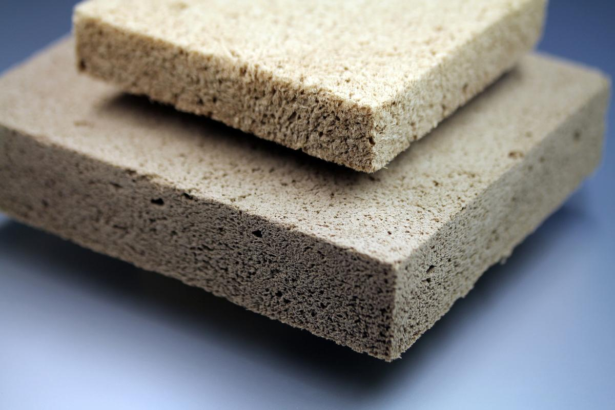 Samples of Fraunhofer's wood foam insulation