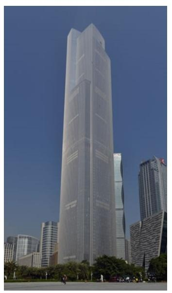 The CTF Finance Centre in Guangzhou where Hitachi's ultra-high-speed elevator has reached 1,260 m/min