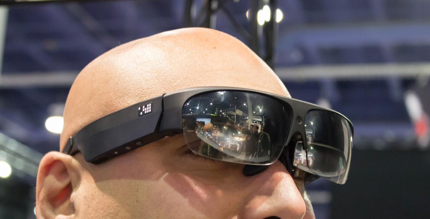 ODG's VP of Headworn Tech Nima Shams modeling a prototype with a wide field of view