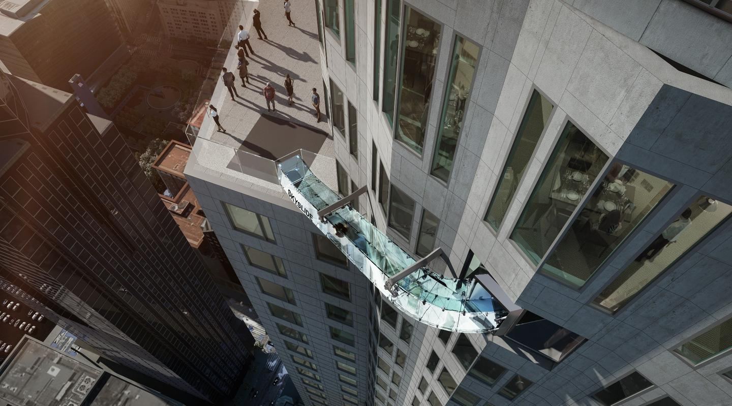 The Skyslide will allow visitors to slide 45 ft (13.7 m) down from the 70th floor to the 69th floor of the US Bank Tower in LA