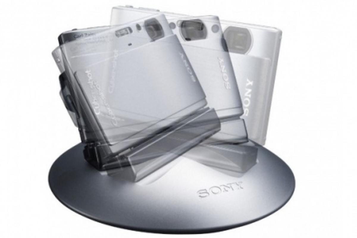The Sony Party-shot works with your Cyber-shot camera to pan, tilt, and take pictures automatically