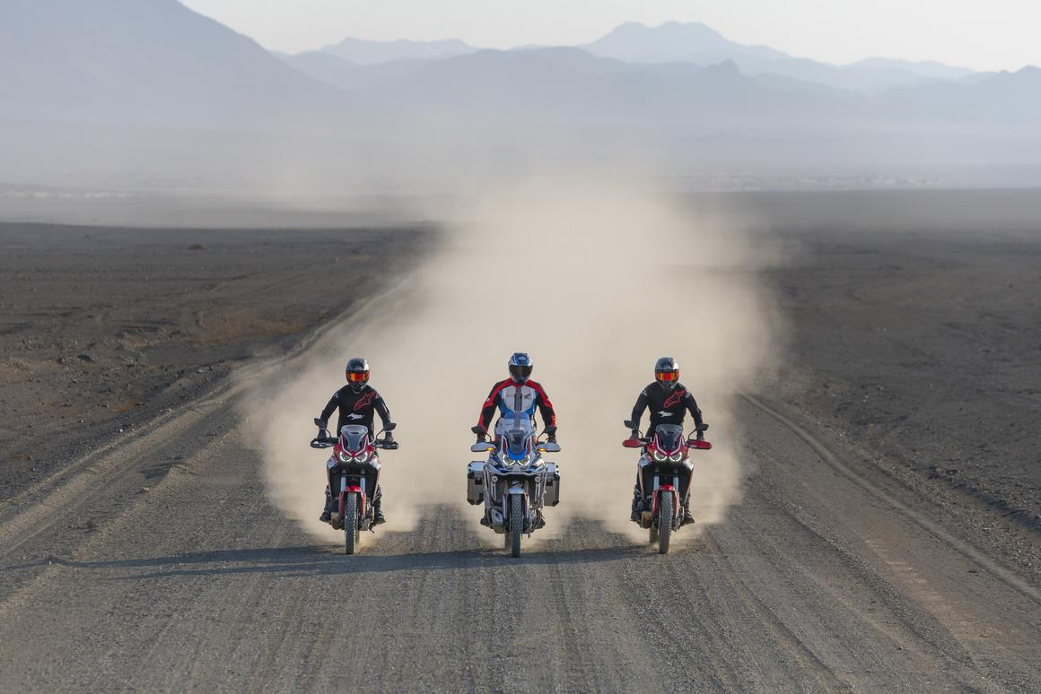 The 2020 Honda CRF1100L Africa Twin model family in action