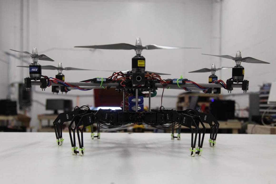 The hexapod hexacopter hybrid created by a team at Mad Labs Industries