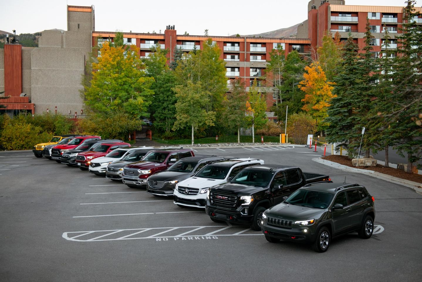 Our lineup of vehicles ready to depart from our hotel to the base camp near Breckenridge, Colorado