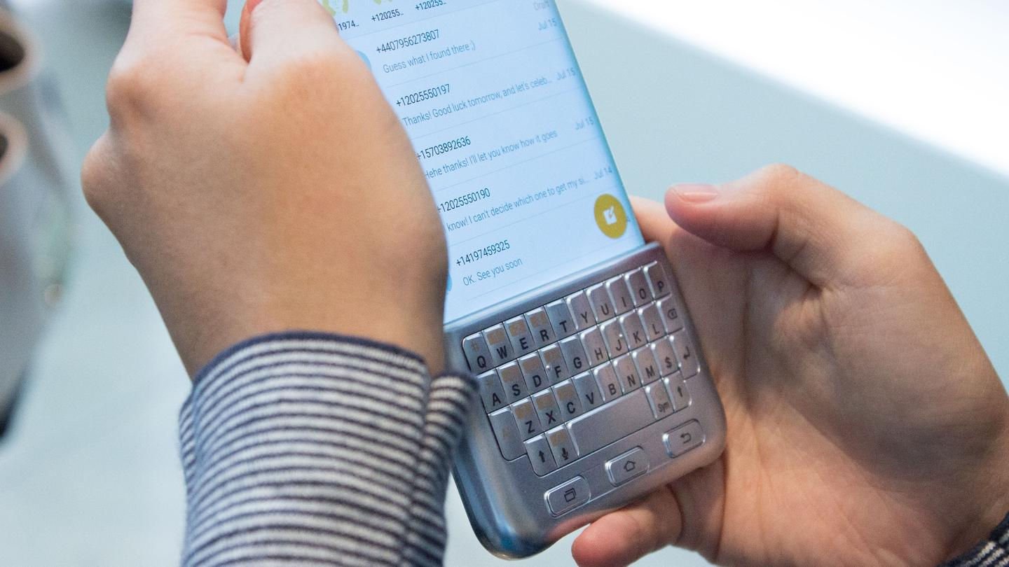 The plastic keyboard slides onto the bottom of the Galaxy's screen