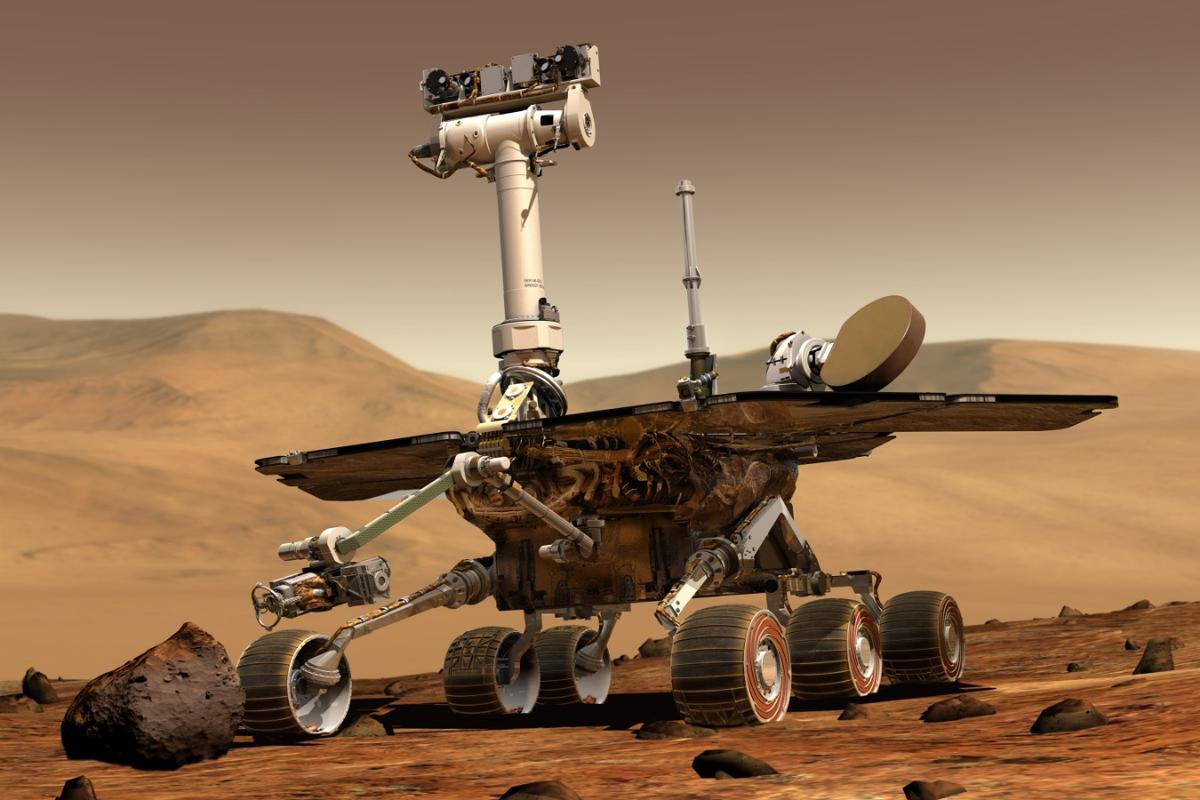 An artist's concept portrays Opportunity on the surface of Mars
