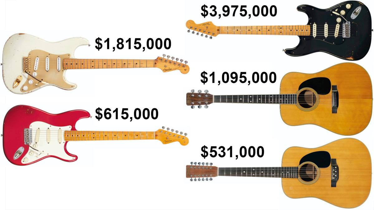 Some of Daid Gilmour's guitars which were sold at auction recently, the proceeds going to fight climate change