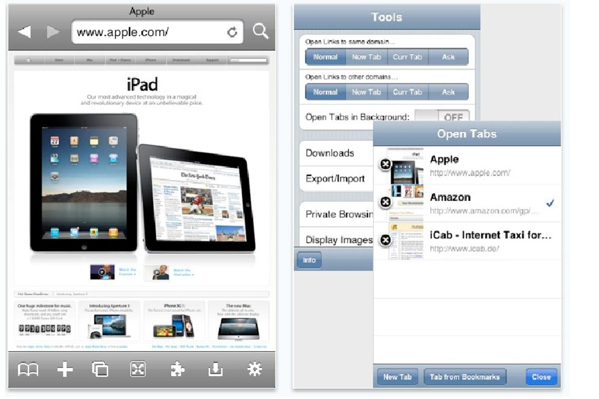 A screen grab from iCab Mobile - a powerful browser for the iPhone and iPod Touch