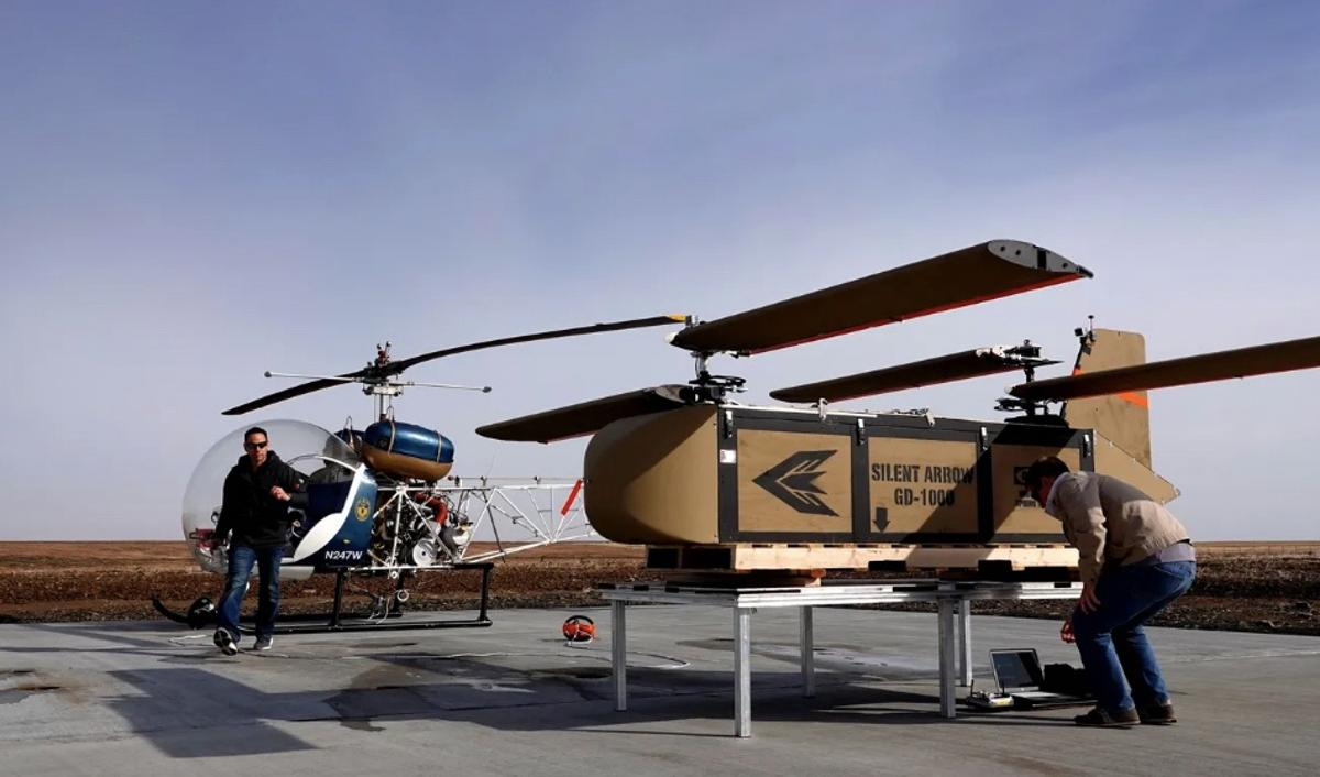The Silent Arrow GD-2000 with its wings folded out – it can be transported by helicopter