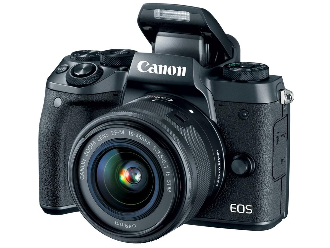 The Canon EOS M5 features a pop-up flash