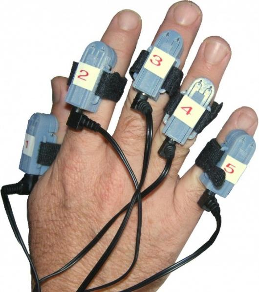 Close up of the finger sleeves which provide the software with a means to communicate instructions to the fingers