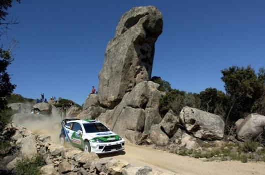 Finn Toni Gardermeister pilots his Ford Focus RS WRC 04 through the Sardinian rocks on Day two of 2005 Rally Italia-Sardinia.