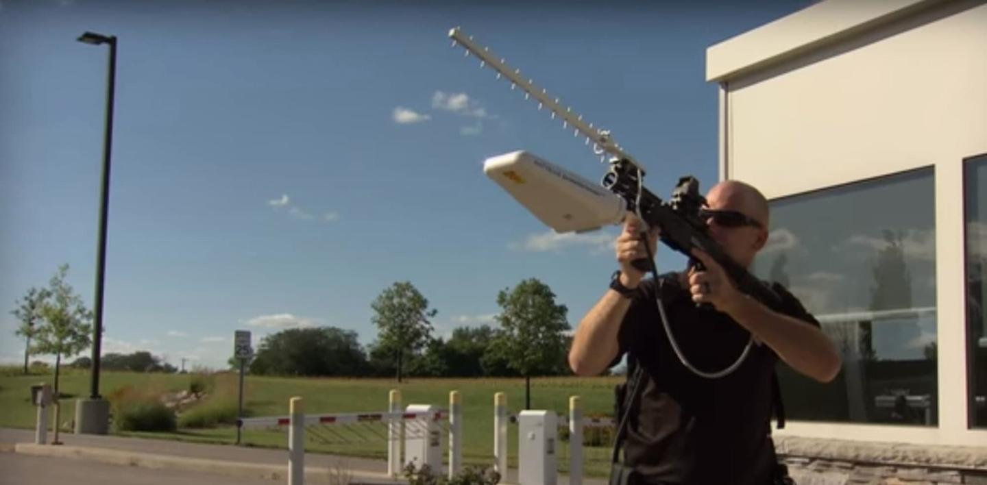 Battelle's DroneDefender fires radio waves in a 30-degree cone