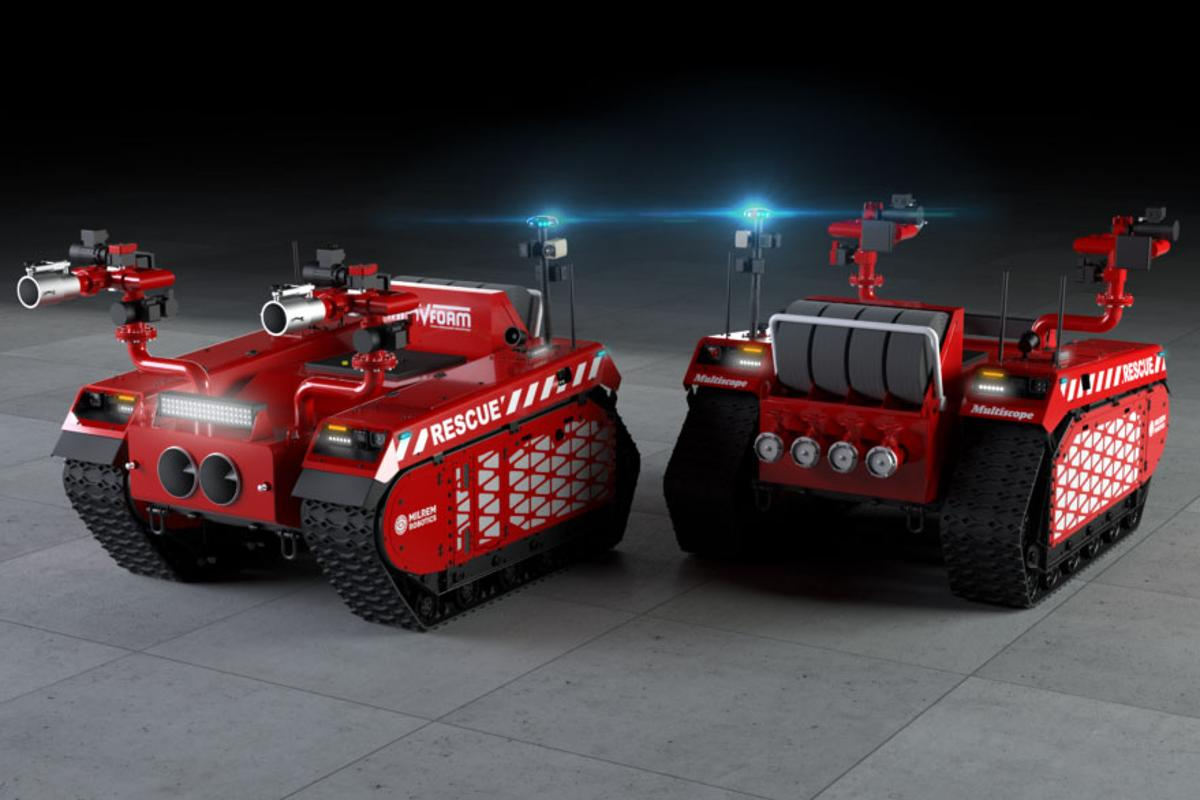 The new firefighting robots based on Mirem's Multiscope Rescue vehicle