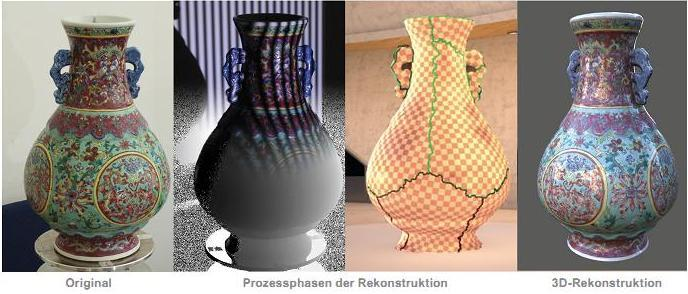 The original vase (left), through the acquisition process, to the finished 3D model (right)
