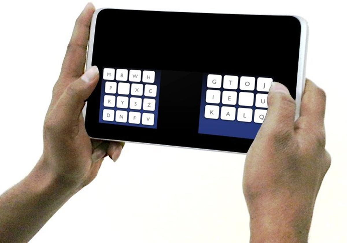 The KALQ keyboard adopts a split design and positions the letters specifically for thumb typing