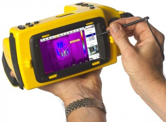 The DayBright touch-screen on the rear of the Thermoteknix VisIR 640 Thermal Imaging Camera.