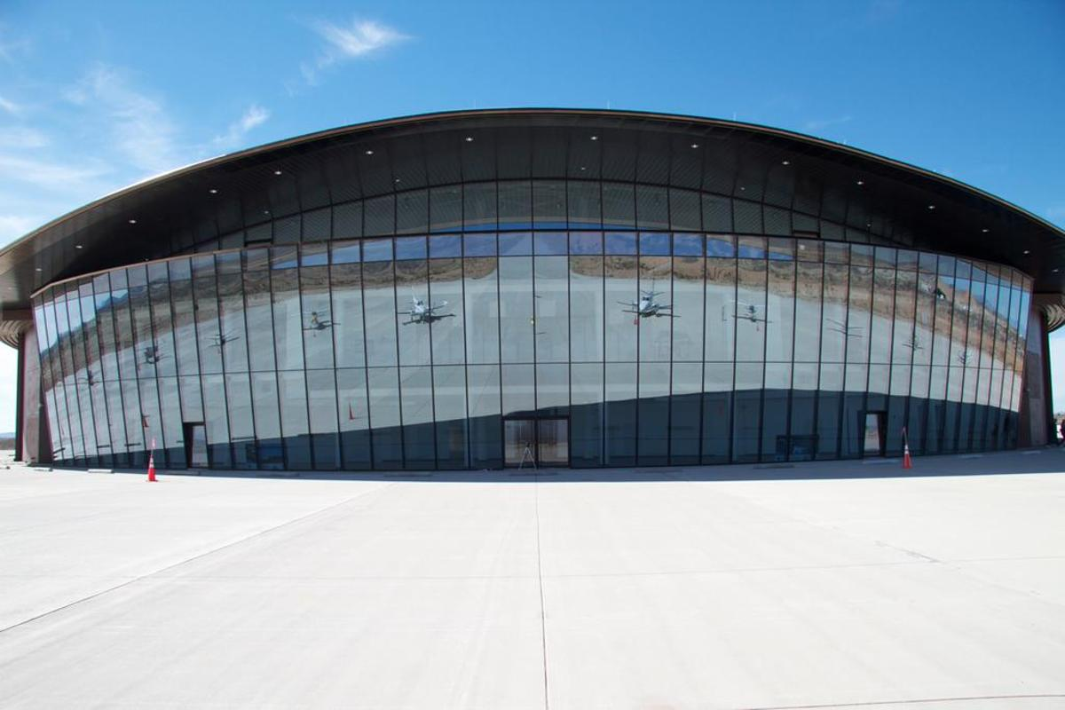 The glass facade of the Spaceport (Photo: Spaceport America)