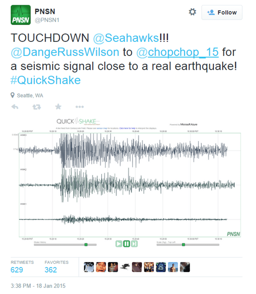 The fanmade earthquake was reported on Twitter (Image: Pacific Northwest Seismic Network)
