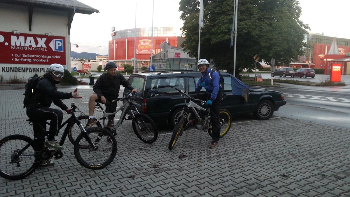 The Mottl brothers and I get ready for our ride – my face (middle) says it all