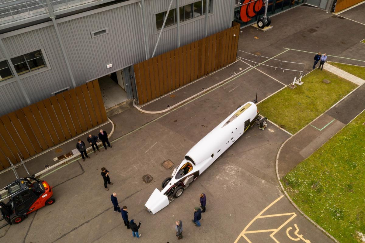 The Bloodhound Supersonic Car is wheeled into its new home at the SGS Berkeley Green University Technical College
