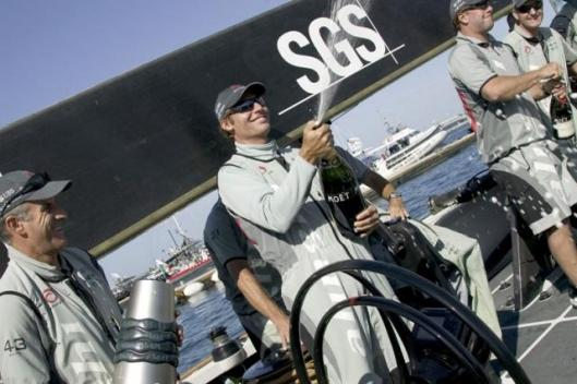 Alinghi's crew at the prizegiving for Act 6, which it clean sweeped. ©ACM 2005/Photo: Francesco Ferri