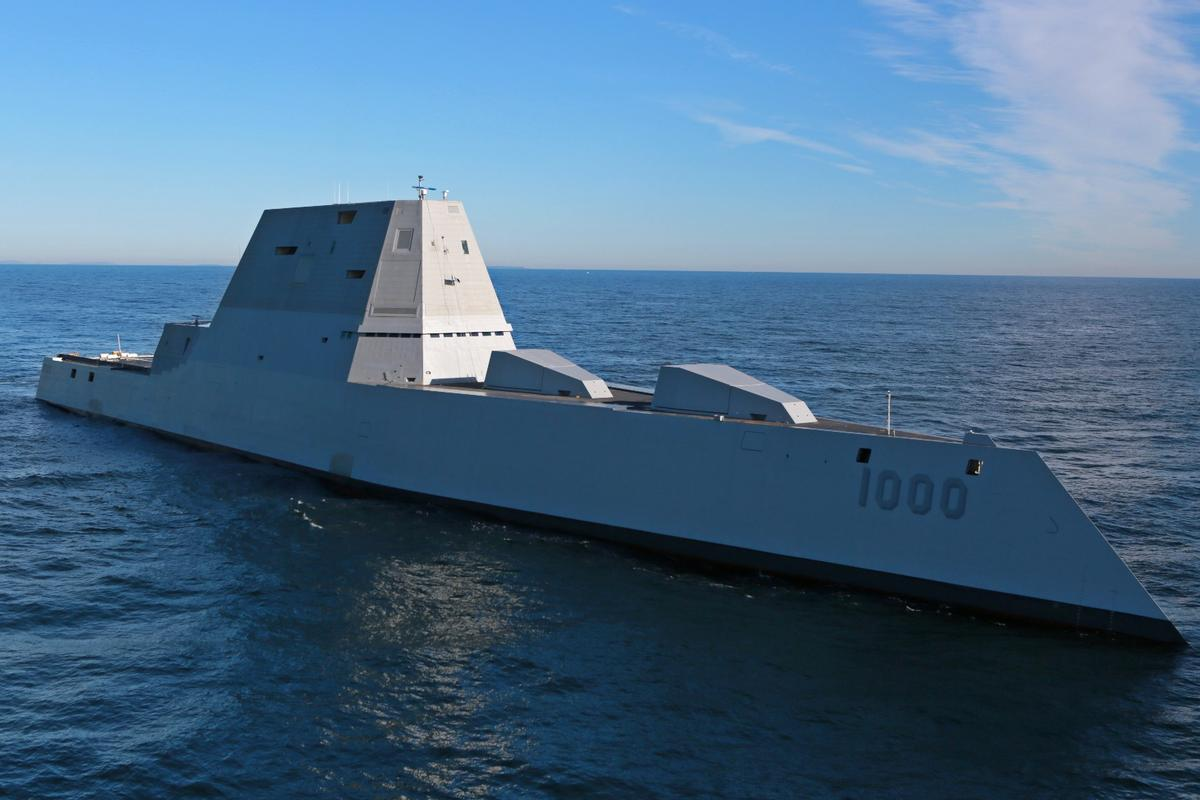 The future USS Zumwalt (DDG 1000) is for the first time conducting at-sea tests and trials in the Atlantic Ocean