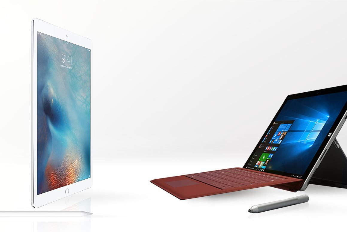 Gizmag compares the features and specs of Apple's new iPad Pro (left) and the Microsoft Surface Pro 3