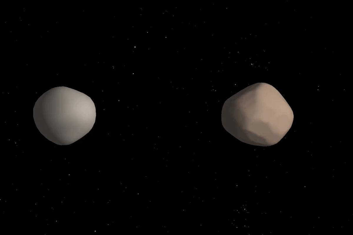 Artist's concept of what binary asteroid 2017 YE5 might look like